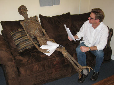 Bones   ''Our casting couch is brown.'' Here, Bones casting director Rick Millikan holds an audition for an upcoming episode. Bonus fun fact: ''The casting bungalow is…