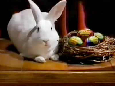 Like Santa's ho, ho, ho 's to Christmas, the sound produced by this confusing clucking bunny is the definitive symbol of the Easter season. Disturbing…