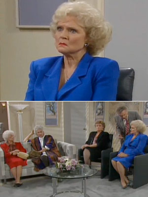 The Golden Girls, Bea Arthur, ...   Season 3, episode 11: ''Three on a Couch'' The girls' bickering reaches new heights, and they seek the help of a therapist Rose : [on…