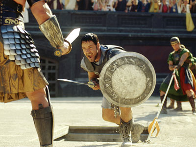 Gladiator, Russell Crowe | Gladiator (2000) Plagued by rumors of script troubles and on-set tantrums, this sword-clanging action pic — about a Roman general (Russell Crowe) fighting for his…
