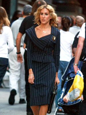 Sarah Jessica Parker, Sex and the City | Miss Bradshaw suits up in gorgeous pinstripe for her first day at Vogue .