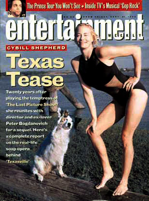 Cybill Shepherd | MOST 'WTF?' EW COVER Cybill Shepherd: ''Texas Tease.'' That pose! The suit! The dog!