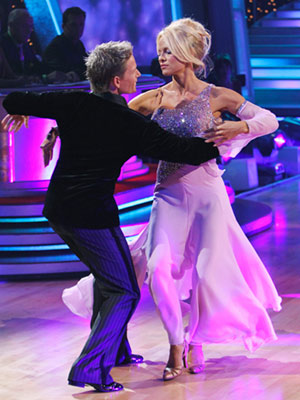 Dancing With the Stars | PAMELA ANDERSON AND DAMIAN WHITEWOOD: WALTZ Pam's lilac dress was relatively demure, rendering those bizarre clumps of loose hair the most intriguing parts of her…