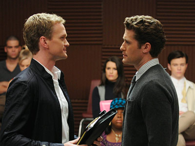 Glee, Matthew Morrison, ...   WE'RE ALL IN THE MOOD FOR A MELODY Boys! Calm down! You're both pretty.
