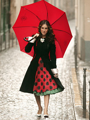 Sex and the City, Sarah Jessica Parker | Her velvet and polka dot ensemble is pure Parisian fairy tale.