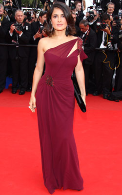 Salma Hayek | SALMA HAYEK Hayek took Drew Barrymore?s infamous sea urchin gown and did it right in this Gucci dress that cuts down on the crystal quotient…