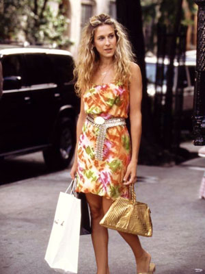 Sex and the City, Sarah Jessica Parker | Metallic accessories make a hot summer dress even spicier.