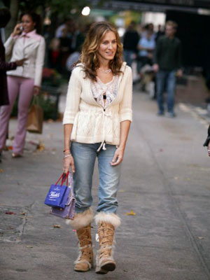 Sex and the City, Sarah Jessica Parker | ''Ugh'' on the Uggs — and is that a bra peeking through?