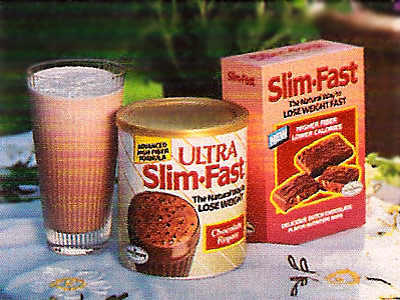 FOOD FAD ''Lose weight; Slim-Fast.'' You're welcome for sparing you the creepy ''belt cinching the waist of the shake'' motif of later commercials.