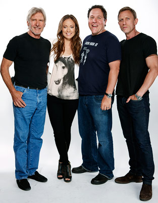 Jon Favreau, Daniel Craig, ... | HARRISON FORD, OLIVIA WILDE, JON FAVREAU, AND DANIEL CRAIG, Cowboys & Aliens