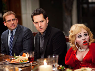I AM SHOCKED, SHOCKED! Steve Carell, Paul Rudd, and a lovely young woman in Dinner for Schmucks