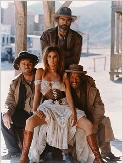 NEVER BEEN WILDER Raquel Welch with ruffians Ernest Borgnine, Jack Elam, and Strother Martin in the classic B-movie Hannie Caulder