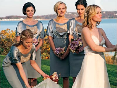 Anna Paquin, Katie Holmes | The Romantics (out Sept. 24) follows a group of college pals who reunite for a wedding weekend. (The bridal party includes, from left, Glee 's…