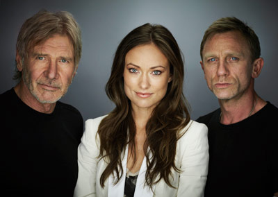 Daniel Craig, Olivia Wilde, ... | HARRISON FORD, OLIVIA WILDE, AND DANIEL CRAIG, Cowboys & Aliens