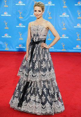 Dianna Agron | DIANNA AGRON As an Emmy newcomer, the Glee cheerleader found a princess perfect gown in this ultra-feminine Carolina Herrera. Grade: B+