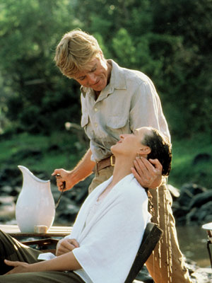 Out of Africa, Meryl Streep, ... | Robert Redford washes Meryl Streep 's hair in Out of Africa (1985).