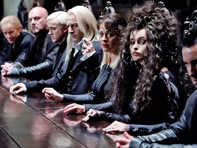 Harry Potter and the Deathly Hallows - Part 1   Voldemort's allies include Draco Malfoy (Tom Felton, third from left); Draco's parents, Lucius and Narcissa Malfoy (Jason Isaacs and Helen McCrory); and his creepy-even-when-silent aunt…
