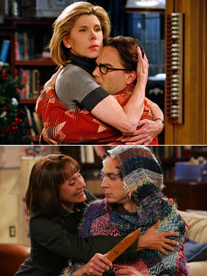 Jim Parsons, Laurie Metcalf, ... | THE MOMS Sheldon's mom (Laurie Metcalf, bottom) is a Bible-toting Texan, while Leonard's (Christine Baranski) is a chilly ultra-academic scientist...who planted a big smooch on…