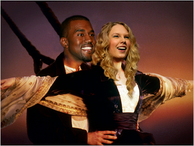 Kanye West, Taylor Swift | TITANIC Taylor would look fantastic with the ocean wind in her hair. Plus, you just know Kanye's practiced shouting ''I'm the king of the world!''…
