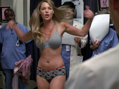 Grey's Anatomy, Katherine Heigl | Showing the same questionably feminist leanings that Katherine Heigl would later exhibit in Knocked Up , former model Izzie strips down to her undies when…