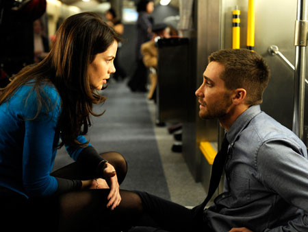 Jake Gyllenhaal, Michelle Monaghan | In the new sci-fi thriller Source Code (out April 1), Gyllenhaal plays a military operative who is sent back in time — over and over…