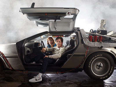 Lea Thompson, Michael J. Fox | Thompson was thrilled to get to play around in a replica of the DeLorean from the movie since she ''didn't actually get to shoot in…