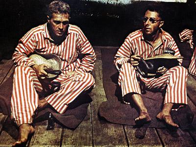 Steve McQueen, Dustin Hoffman, ... | Steve McQueen and Dustin Hoffman, imprisoned on Devil's Island. A must-see.