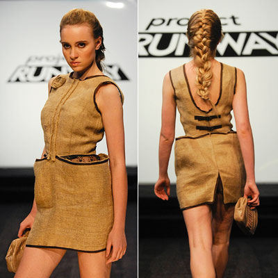 Project Runway | HOT MESS Ping's ass-baring burlap dress (season 7, episode 2) Hate to pick on the girl, but Ping sure did excel at the unwearable. Her…