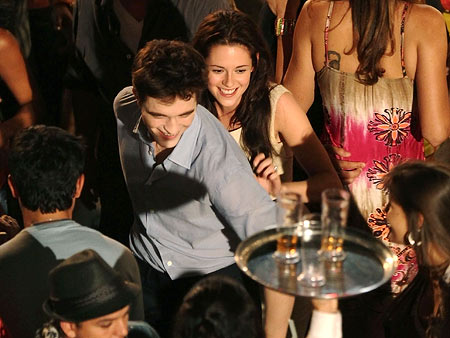 Kristen Stewart, Robert Pattinson | This is the most fun we've ever seen Edward Cullen have. Good for him.