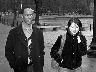YOUNG LOVE Jason Palmer and Desiree Garcia perambulate in Guy and Madeline on a Park Bench