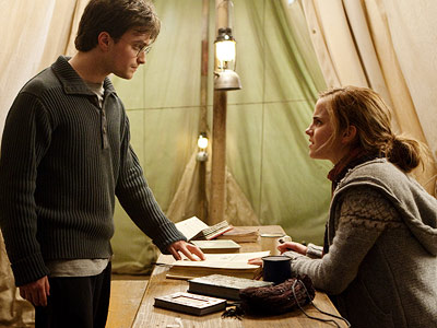Harry Potter and the Deathly Hallows - Part 1   In the book: When Harry, Ron, and Hermione are out camping, they are listening to Potterwatch, the pirate radio show hosted by former classmate Lee…