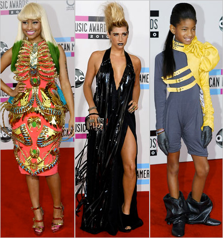 American Music Awards 2010, Willow Smith | No letter of the alphabet can truly sum up the head-scratchers that are Nicky Minaj's Manish Arora dress, Ke$ha's studded eyebrows, gold faux hawk, and…