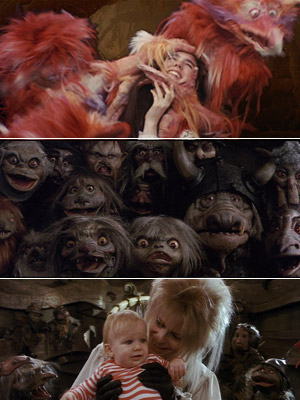 Labyrinth, David Bowie | As if David Bowie's awesomely bad '80s hair wasn't scary enough, Labyrinth petrifies children lured in by the Jim Henson directing credit to see muppets…