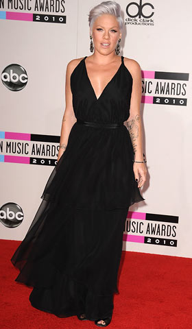 Pink, American Music Awards 2010 | The ''Raise Your Glass'' singer, who just announced she's pregnant, put a rock'n' roll twist on her classic Janey Lopaty Vintage with a purple-grey hairdo.…