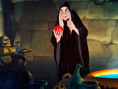 Snow White and the Seven Dwarfs | The Queen-turned-crippled-old-hag (complete with a hook nose and lots of warts) is one of the more frightening Disney villains, mostly because she leads you to…