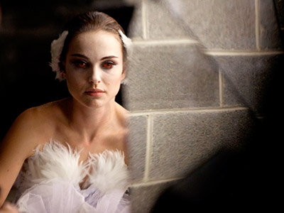 RED-EYED GIRL Natalie Portman gets ready to dance in Black Swan
