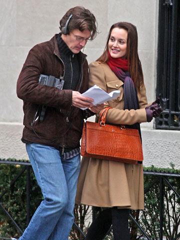 Andrew McCarthy, Leighton Meester, ... | Gossip Girl guest director Andrew McCarthy with Leighton Meester near Central Park.