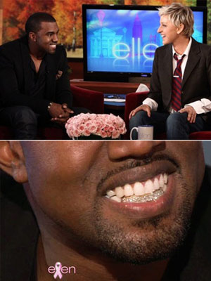 Kanye West, Ellen DeGeneres | 3. Shows off his brand-new diamond teeth while visiting Ellen DeGeneres? talk show. (Oct. 19)