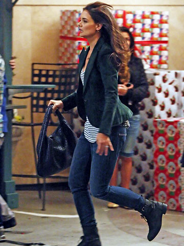 Katie Holmes filming Jack and Jill at The Grove in L.A.