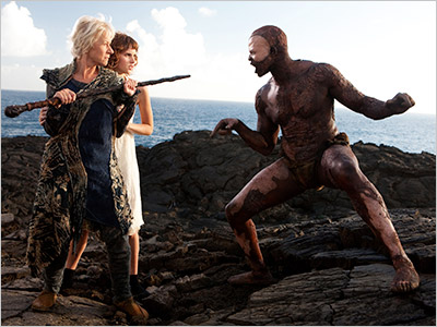ISLAND IN THE SUN Helen Mirren, Felicity Jones, Djimon Hounsou in Julie Taymor's reimagined version of The Tempest
