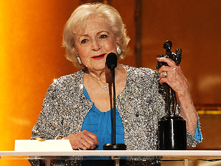 Betty White, Screen Actors Guild Awards 2011 | Betty White gets handsy Accepting her award for Best Female Actor in a Comedy ( Hot in Cleveland ), White ogled and fondled the male-nude…