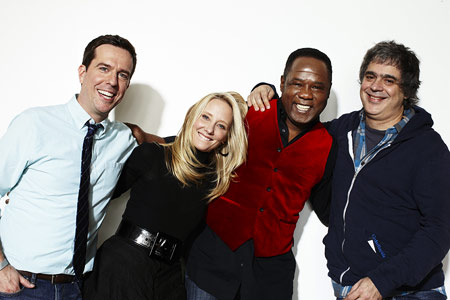 Ed Helms, Anne Heche, ... | (Left to right) Ed Helms, Anne Heche, Isiah Whitlock Jr., and Miguel Arteta (director), Cedar Rapids