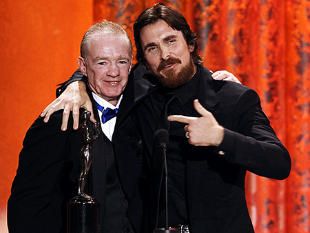 Christian Bale, Screen Actors Guild Awards 2011 | Christian Bale has a surprise co-acceptor The Fighter scene stealer seemed genuinely chuffed to be ''Kanye'd'' by his real-life alter ego, Dicky Eklund, as he…