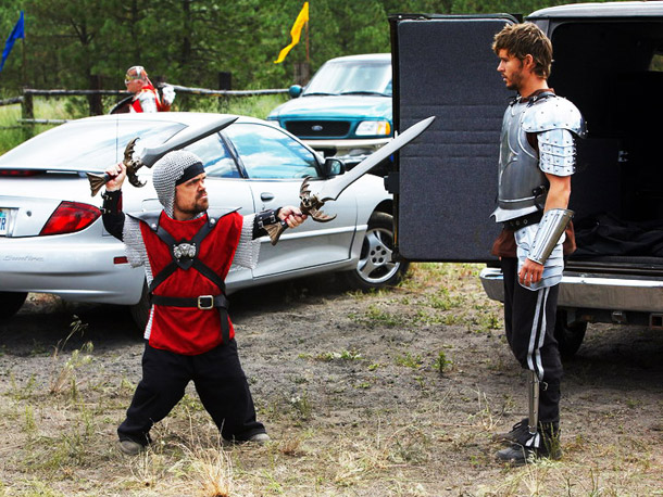 Peter Dinklage gets all medieval on Ryan Kwanten in Knights of Badassdom . Check out EW's Inside Movies blog for even more on Knights of…