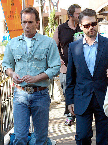 Luke Perry and Jason Priestley in L.A. as they attend a taping for Extra .