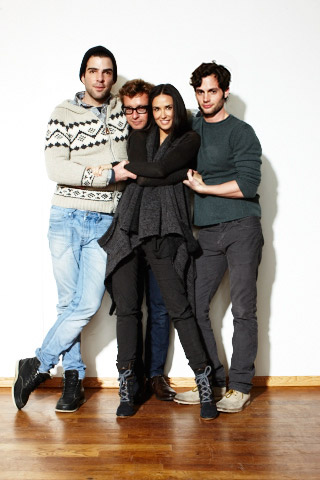 Demi Moore, Penn Badgley, ... | (Left to right) Zachary Quinto, Simon Baker, Demi Moore, and Penn Badgley, Margin Call