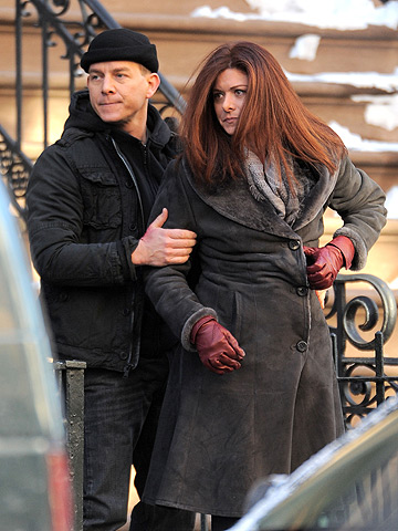 Debra Messing taping a segment for Law and Order: SVU close to Union Square, Manhattan.