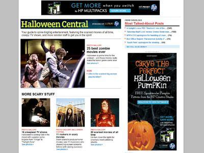 EW.com created a custom expandable 300x600 unit for HP?s sponsorship of the EW.com Halloween site special.