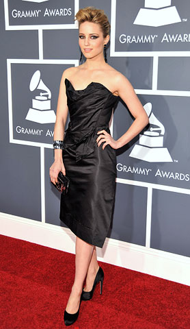 Dianna Agron | Like her Glee co-star, Agron put a rocker twist on an old Hollywood look in this Vivienne Westwood.