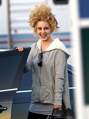 Dianna Agron on the Glee set during taping of the post-Super Bowl ''Thriller'' episode.